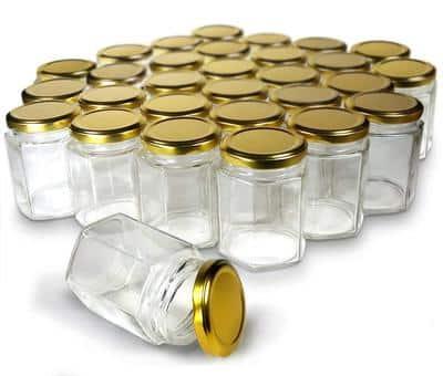 Cloudsell Hexagon Glass Jar with Air Tight Gold Metal Cap