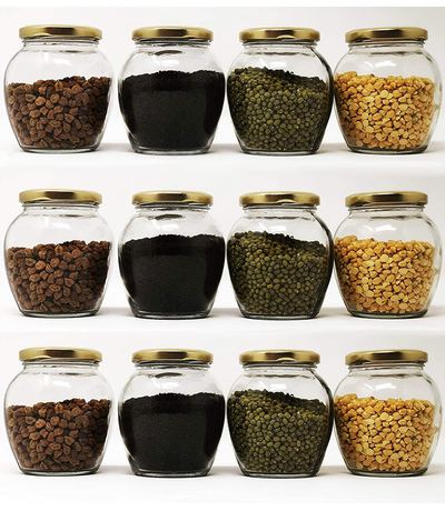 Cloudsell Matka Shape Glass Jars with Airtight Metal Lid for Spice